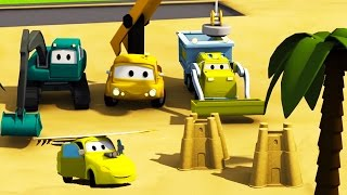 Construction Squad: the Dump Truck, the Crane, the Excavator with Baby Racing Car at Car City Beach!