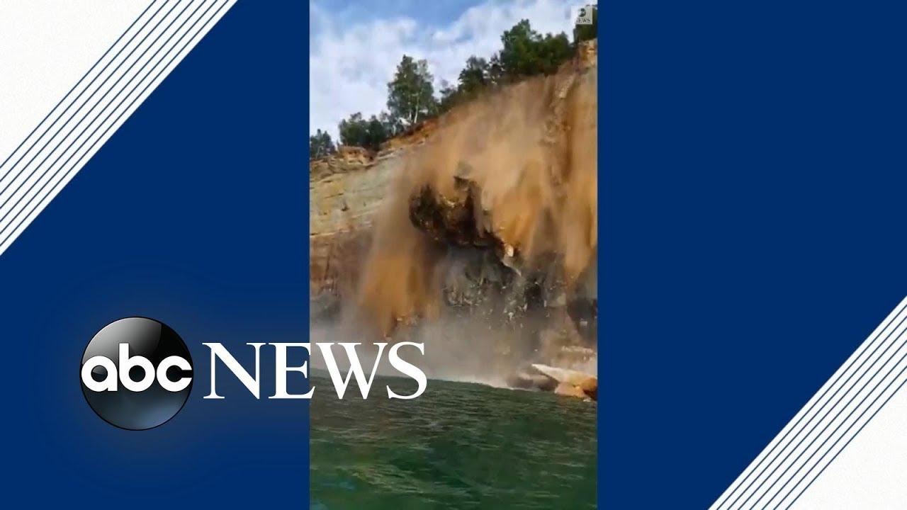 ABC News:Kayakers avoid injury as cliff crashes into Lake Superior | ABC News