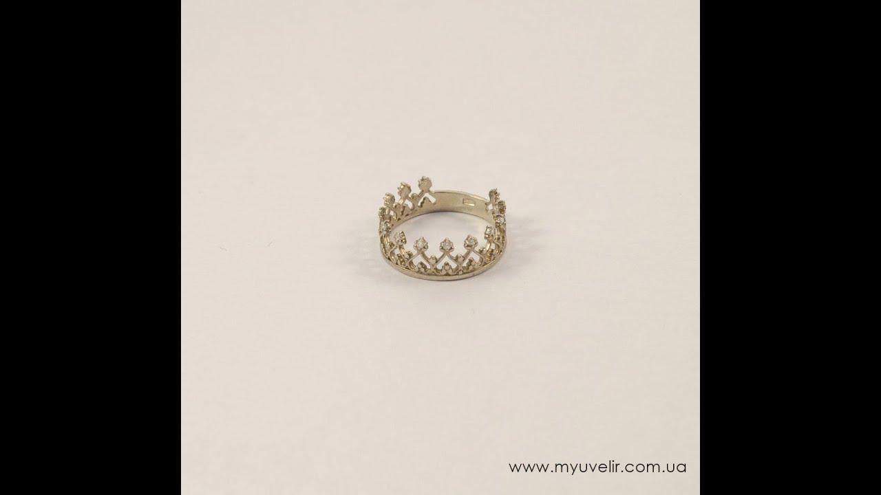 Bije.ru: Кольцо в виде короны с золотым покрытием и фианитами .