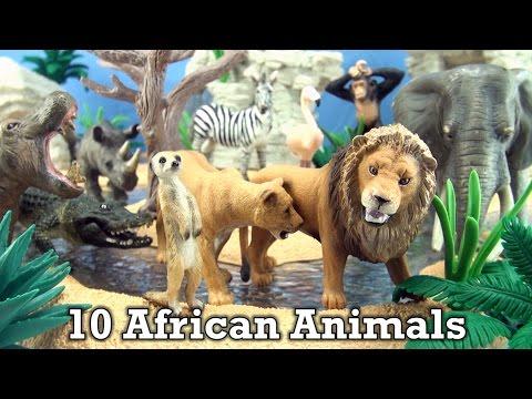 10 African Animals Schleich Wild life toys – Elephant, Lion, Zebra, Rhino, Hippo, Flamingo