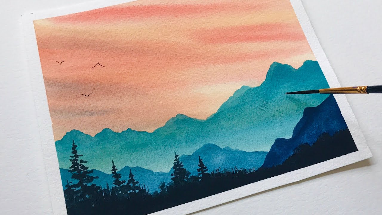 Watercolor Painting Landscape Mountains For Beginners Watercolor Art Easy Landscape Tutorial Youtube