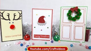 Very Easy Christmas Card Ideas | 3 types of Christmas Cards | 3 Easy DIY Christmas Cards