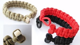 How to Make a Hex Nut Heart Shaped Knot and Loop (without buckle) Paracord Bracelet-Cobra Weave