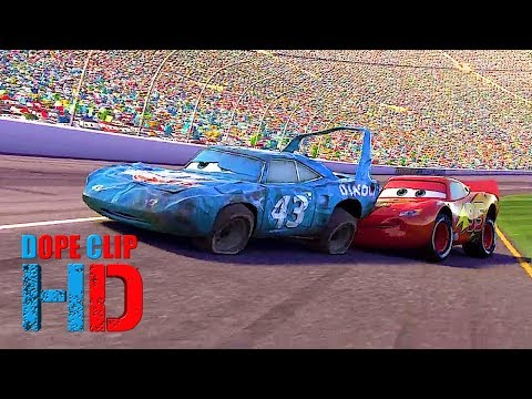 Cars 2006 The King Crashing At Finish Line Last Race Best Ending