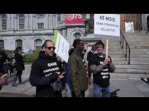 Striking Montreal Engineers Protest In Front of Montreal City Hall 00089