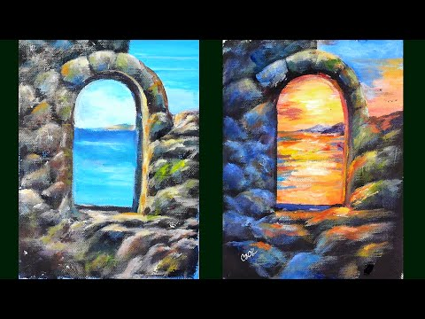 Rock Archway at Sunset Arcylic Painting Tutorial with Ginger Cook