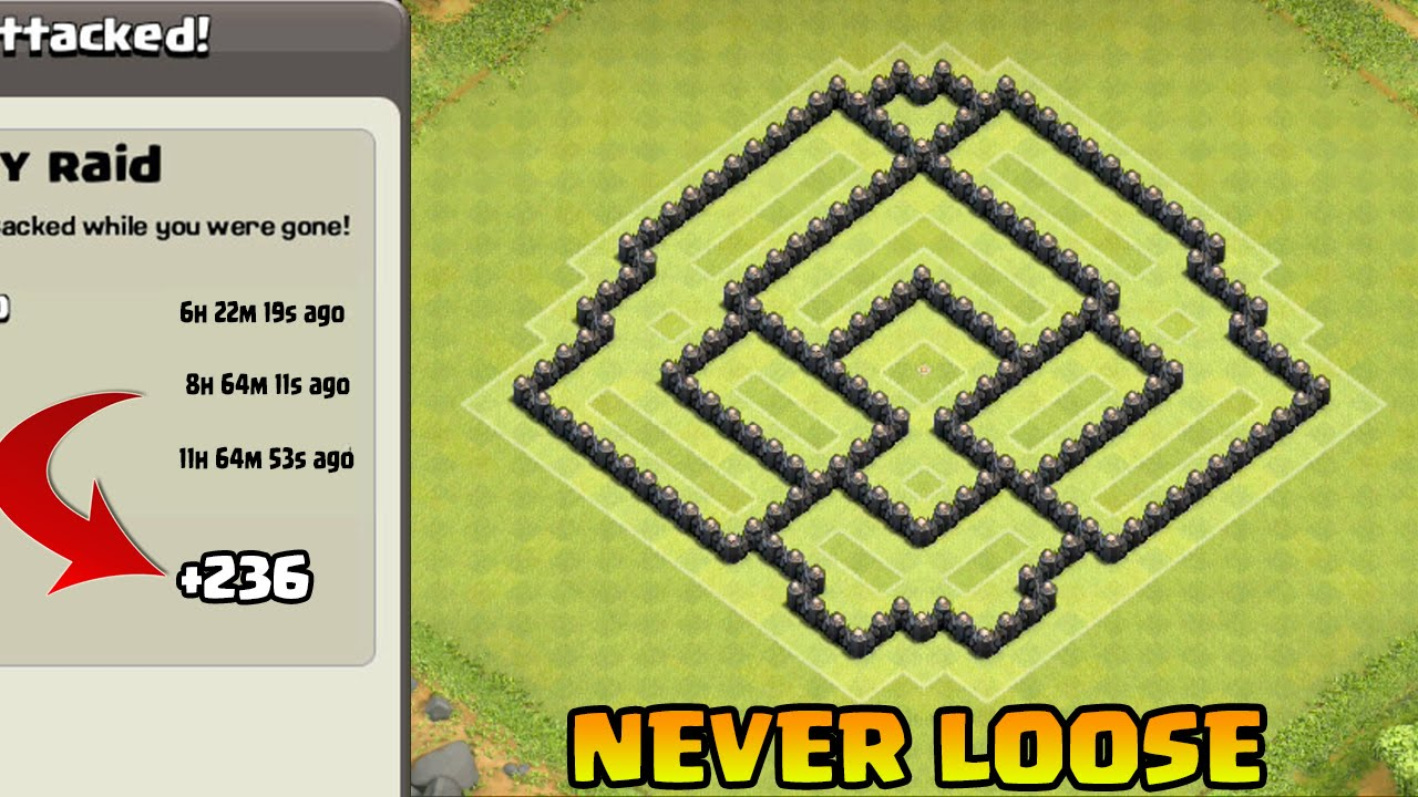 Th7 trophy base with air sweeper coc th7 trophy push defense base