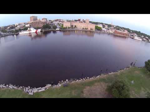 Drone flight from Battleship to parking garage testing new gimbal, Wilmington NC