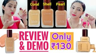 Lakme Perfecting Liquid Foundation Review and Demo Foundation cream Natural Pearl Lakme Foundation