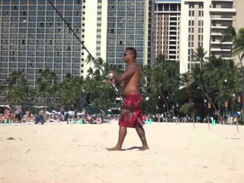 Hawaiian Guy Fishing On Waikiki Beach