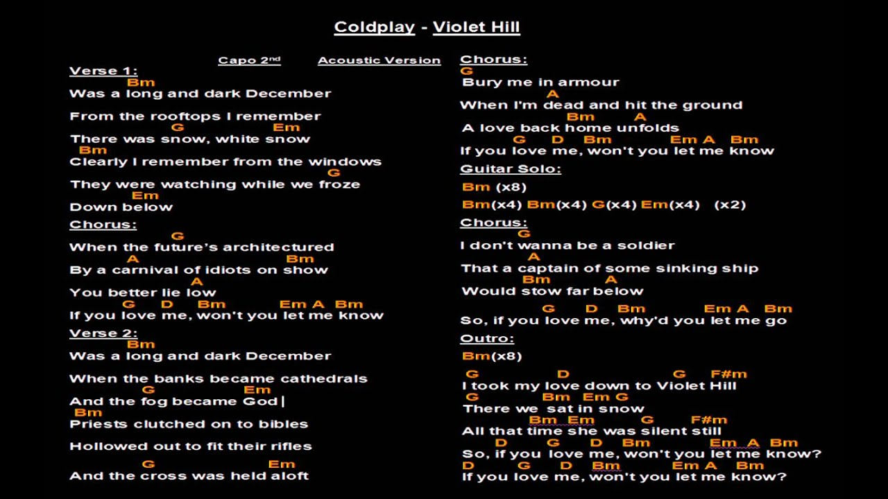 Coldplay Violet Hill Backing Track With Guitar Chords And Lyrics