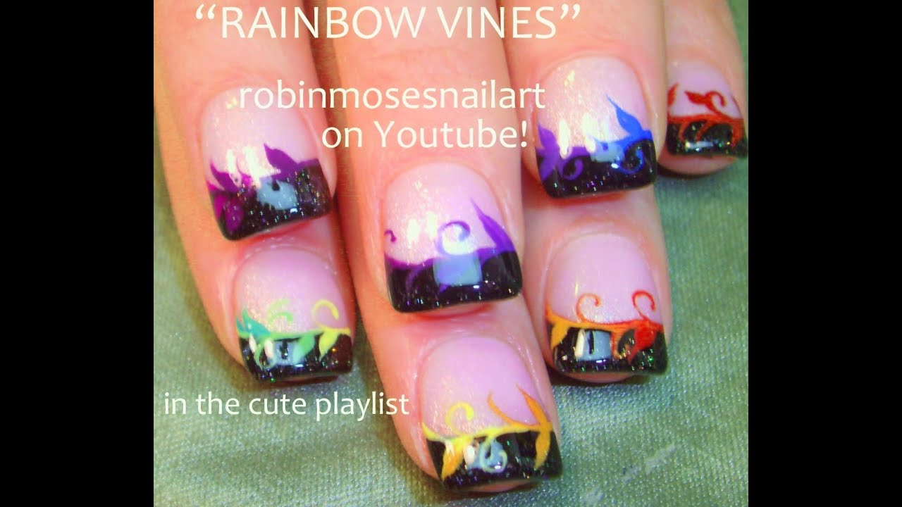 Easy Nail Art for Short Nails - DIY Rainbow Vine Tips designs - YouTube