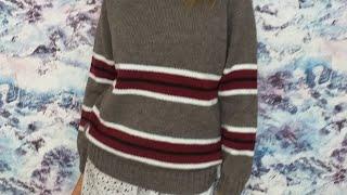 """Пуловер """"теплые полоски"""". Попетельный обзор. - Видео от Елена Сурикова"""