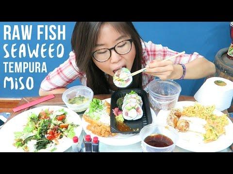 Japanese Food MUKBANG ft. tempura, tonkatsu, seaweed salad, sushi rolls, miso soup