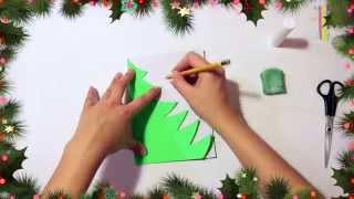 How to make a Christmas Tree:Как сделать елочку на новый год аппликация елочка #ёлка #новый год(Всем привет! В этом видео мы решили показать как с помощью цветного картона или бумаги сделать новогоднюю..., 2014-11-10T22:04:58.000Z)