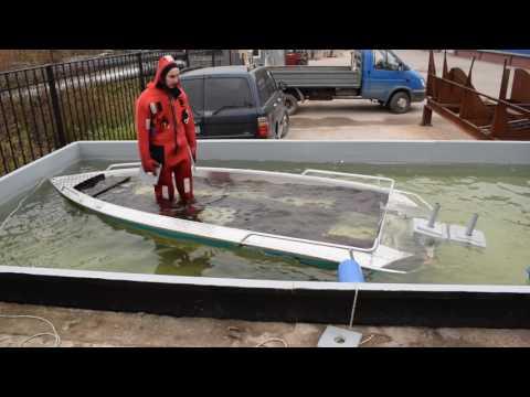 Купаем лодку Вельбот-42М