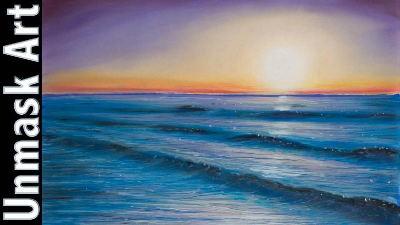 sunset seascape soft pastel drawing time lapse youtube