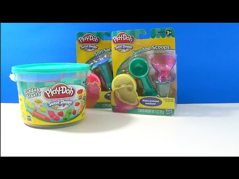 Unboxing Play Doh Ice Cream Sweet Shoppe Sundae Treats Scoop Set Soft Serve Swirler