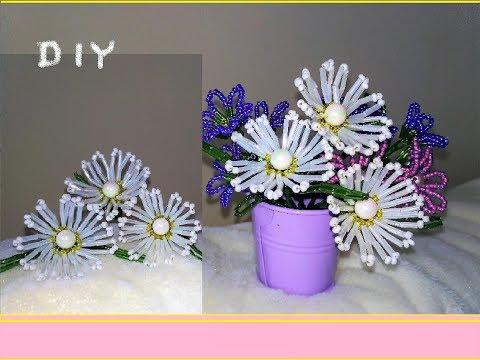 Простые цветы из бисера mirbiseracom