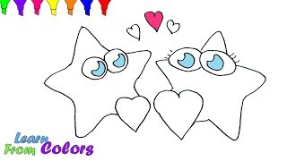 How To Draw Star And Heart Shape Coloring Pages For Children