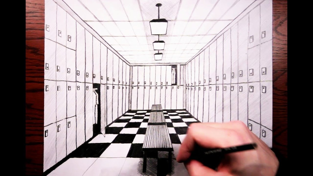 How To Draw A Locker Room In One Point Perspective Youtube
