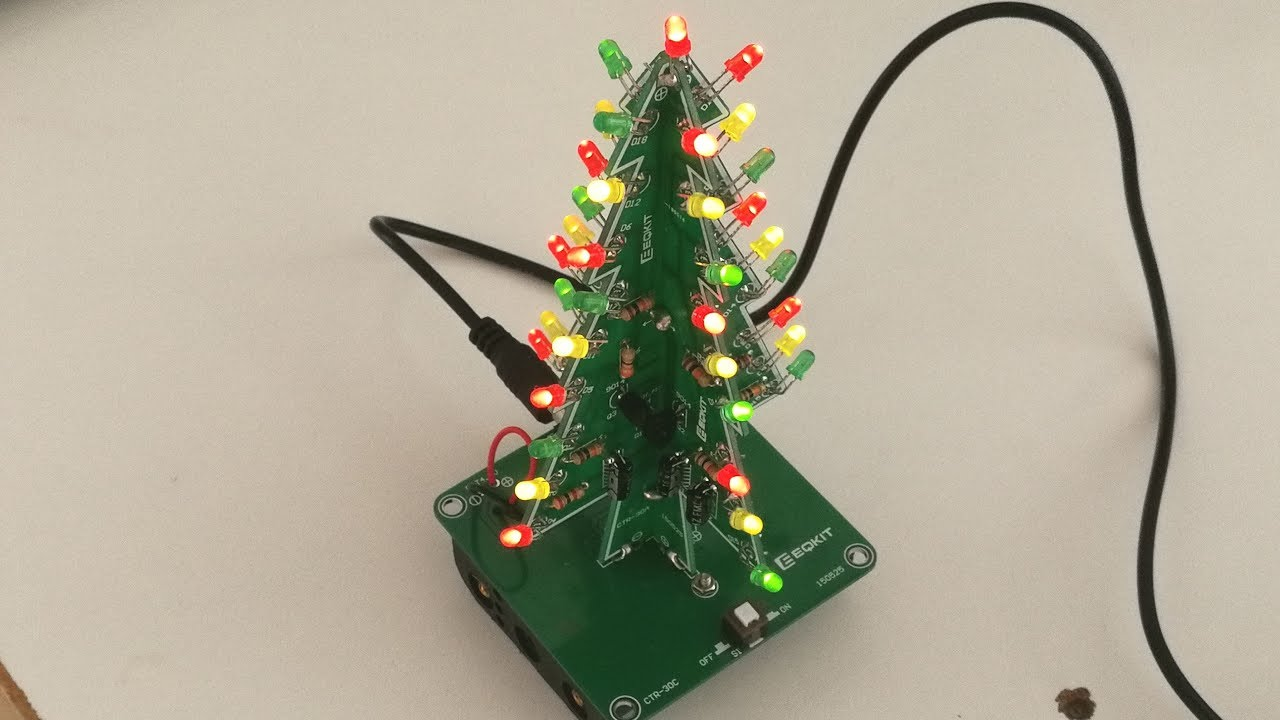 diy kit 3d christmas tree kit with 3 colors red green blue flashing led for electronics soldering practice fun gift dc 5v [ 1280 x 720 Pixel ]