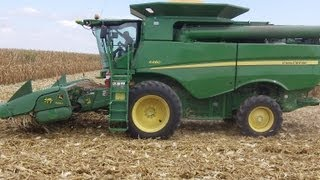 John Deere S660 Combine with 8 Row Corn Head and Cadwell Elevator
