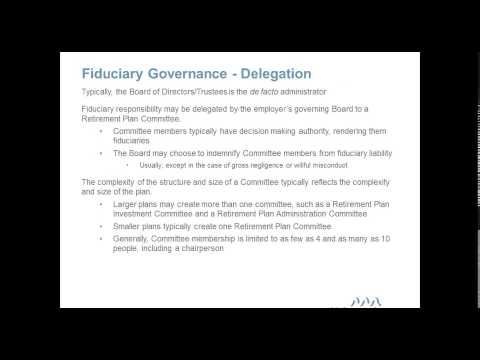 ERISA Fiduciary Overview for Plan Sponsors