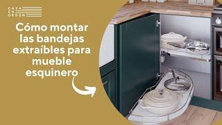 Tutorial de montaje: Bandejas extraíbles con cerco metálico cromado para mueble esquinero de cocina
