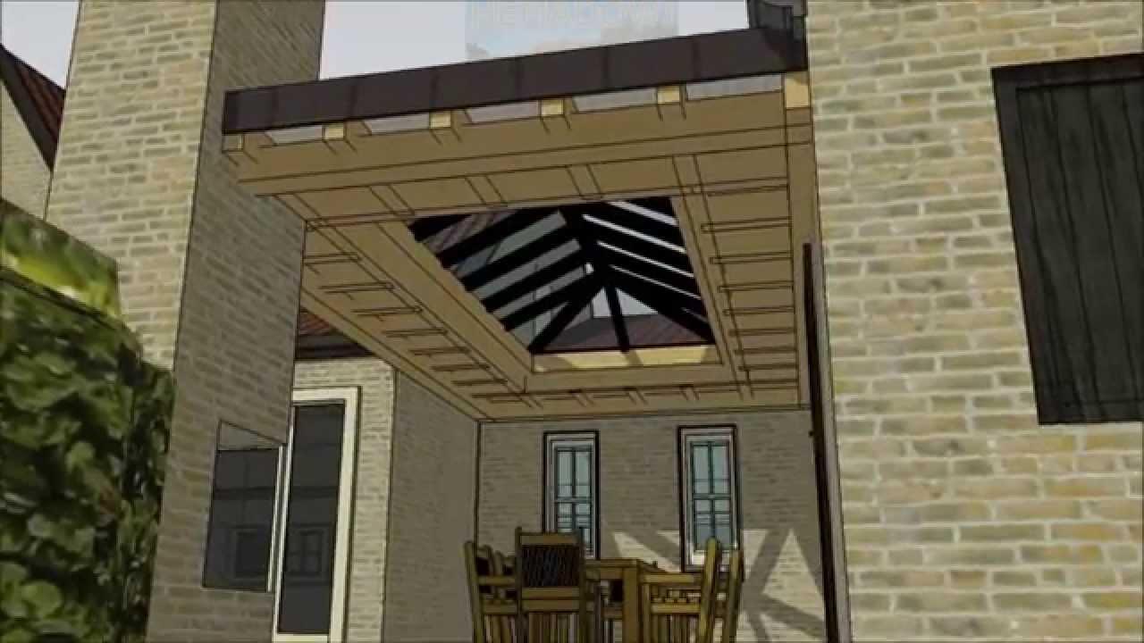 Eiken veranda of terrasoverkapping met eiken gebint van hemadowi ...