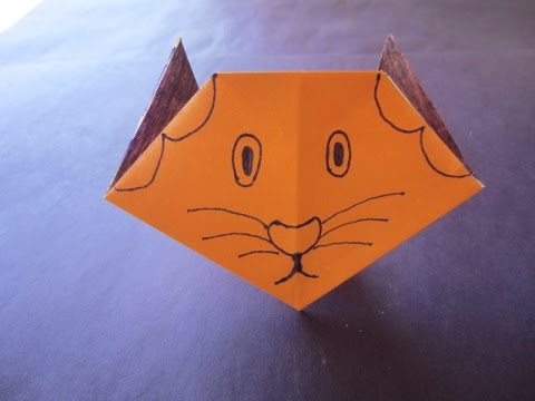 Cat face paper craft art with colour paper youtube for Colour paper craft
