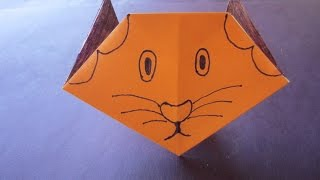 cat face paper craft art with colour paper