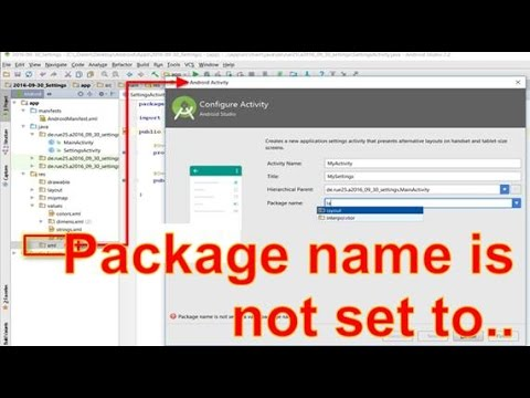 Android Studio Error: Package name is not set to a valid package name