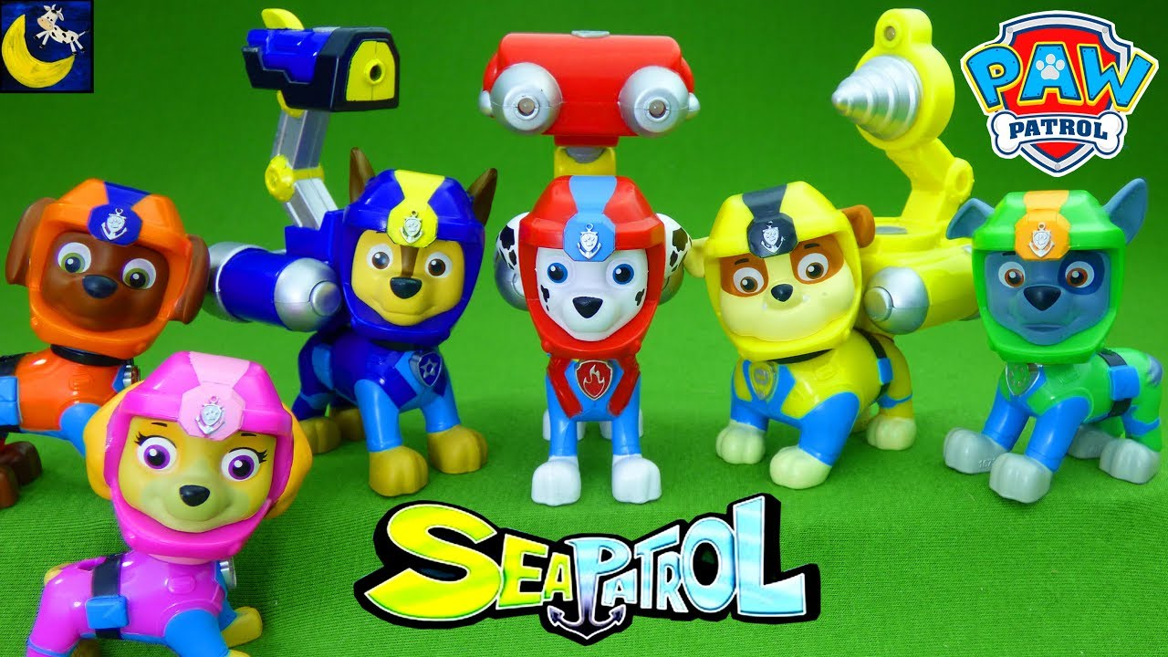 Paw Patrol SEA PATROL Pups Light Up Figure Toys Marshall Chase Rubble Rocky  Zuma Skye Pup Pack Toys!