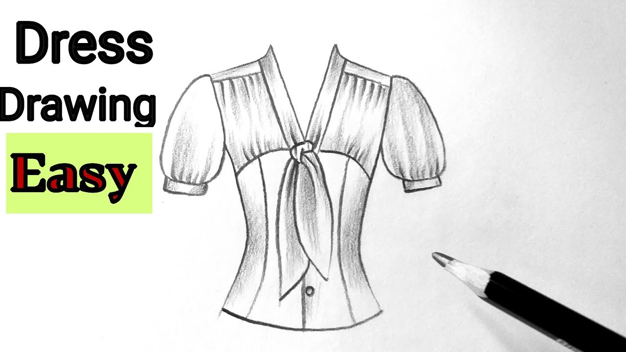 How to draw a beautiful dress drawing(girl top) design easy for beginners drawing clothes designs