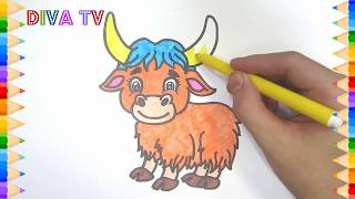 How to draw cute yak drawing tutorial step by step for children
