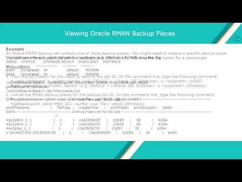 Oracle DB Recovery Via Recovery Manager Interface Using RMAN Commands - CommVault