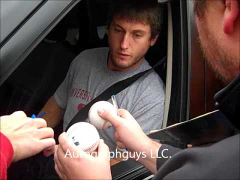 DAVID FREESE OF THE ST. LOUIS CARDINALS SIGNING A TON OF AUTOGRAPHS AT BUSCH STADIUM STL, MO
