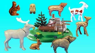 PLAYMOBIL Mountain Wild Animals with Country Backpacker Family Building Set - Animals For Children