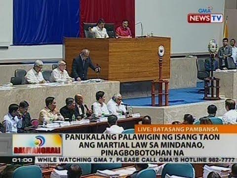 BT: Panukalang palawigin ng 1 taon ang Martial Law sa Mindanao, piangbobotohan na
