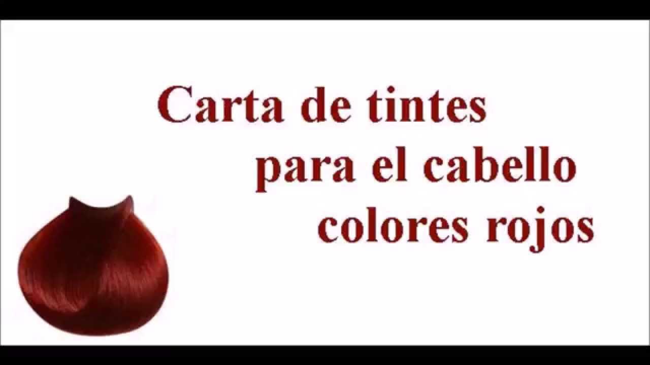 Carta de tintes para el cabello variedad de colores rojos