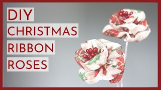 DIY Christmas Ribbon Flowers: Wired Ribbon Rose Tutorial [METRIC & IMPERIAL MEASUREMENTS]