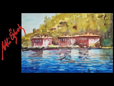 How to paint Waterfront Mansions of Bosphorus-Watercolor painting demo by Me and Orhan Gürel-long