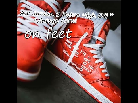 "2553dd0e953107 Air Jordan 1 Retro High OG  Vintage Coral""  on feet  - YouTube"