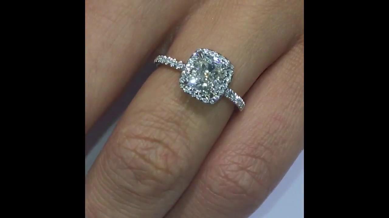 130 Ct Cushion Diamond Handmade Engagement Ring In Halo By Laurenb   Youtube