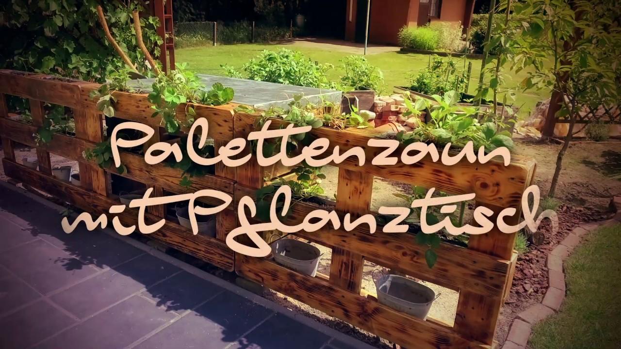 Palettenzaun mit Pflanztisch bauen