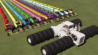 KING OF TRACTORS! 24 WHEELS BIG BUD vs 11 MACHINES   HAY BALING w/ MEGA TRACTORS! 11 in 1 FARM  FS19