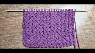 Красивая резинка с косыми петлями/ Уроки вязания/ Мастер-класс
