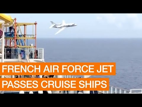 French Air Force Jet Passes Cruise Ships (Package)