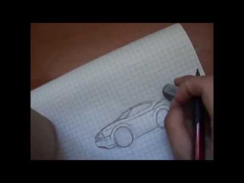 как нарисовать киа рио машину карандашом поэтапно